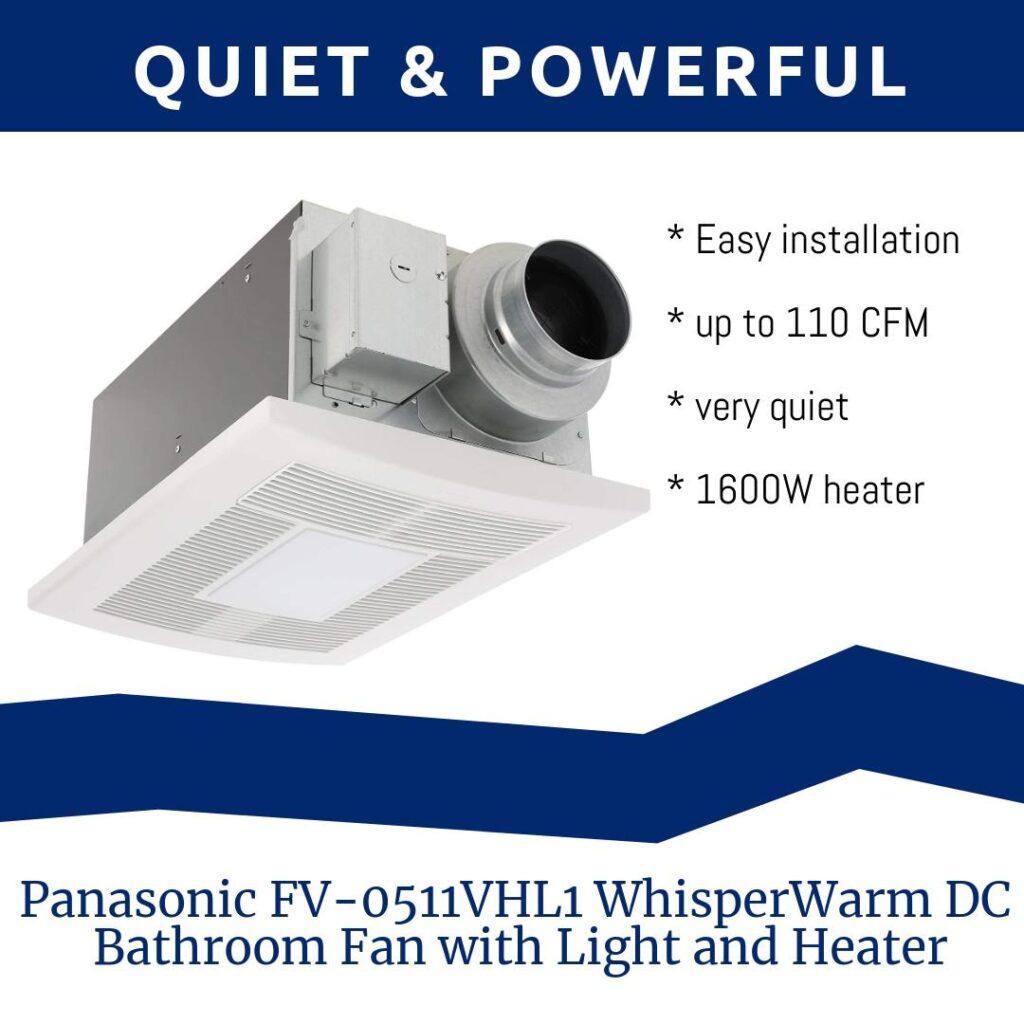Panasonic FV-0511VHL1 WhisperWarm DC Bathroom Fan with Light and Heater